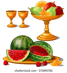 Golden plates with fruit. Vector.