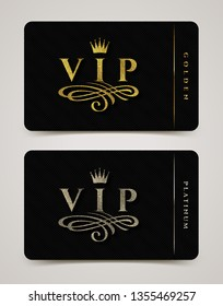 Golden and platinum VIP card template - type design with crown, and flourishes element on a black  background. Vector illustration.