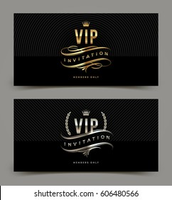 Golden and platinum VIP invitation template - type design with crown, laurel wreath and flourishes on a black pattern background. Vector illustration.