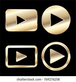 Golden play button icon vector