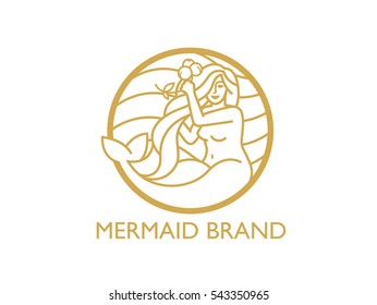 Golden playful mermaid logo and graphic
