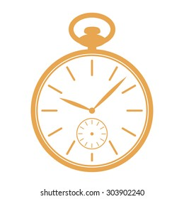 Golden pocket watch icon isolated on white background. Pocket watch vector illustration.