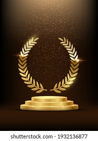 Golden podium with laurel glowing. Gold stage with glitter and light fog on dark background. Hollywood fame in film and cinema or championship in sport vector illustration.
