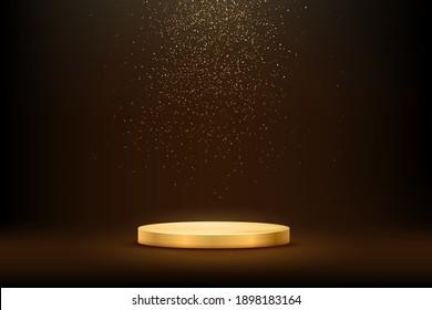 Golden podium under falling gold glitter isolated on dark background. Vector illustration