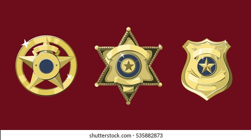 Golden police and sheriff badges on dark red background