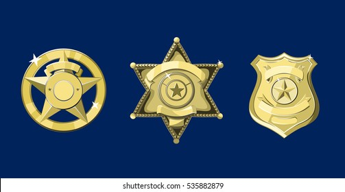 Golden police and sheriff badges on dark blue background
