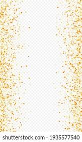 Golden Polka Holiday Transparent Background. Golden Round Postcard. Gold Sparkle Vector Design. Confetti Paper Wallpaper.