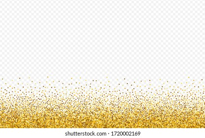 Golden Polka Rich Transparent Background. Anniversary Confetti Postcard. Yellow Glow Shiny Texture. Rain Holiday Wallpaper.