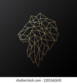 Golden polygonal Lion illustration isolated on black background. Geometric animal emblem. Vector illustration.