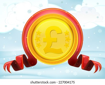 golden Pound coin with xmas bow at winter scenery vector illustration