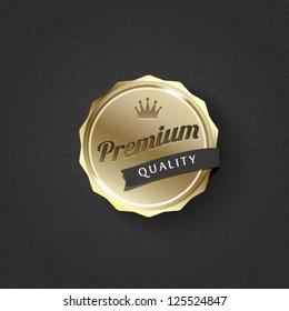 golden premium badge on striped pattern background-vector
