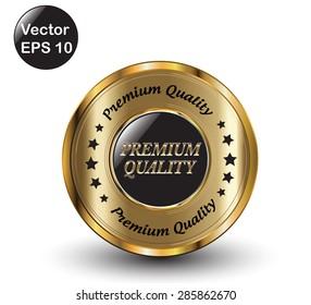 Golden Premium Quality Icon. Vector Illustration.