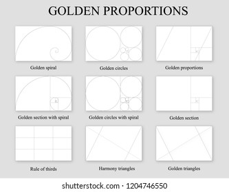 Golden proportions set . Golden section ration , rule of thirds and Fibonacci spiral