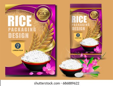 Golden and purple Rice Package Thailand food Logo Products and Fabric Background Thai Arts, banner and poster template design rice food.Golden template and rice design