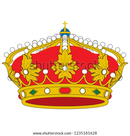 Golden Queen Crown Vector Isolated Medieval Stock Vector Royalty