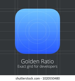 Golden Ratio Exact Grid for developers Application Icon Template