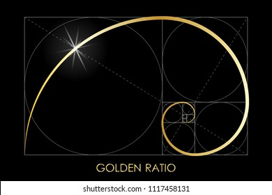Golden ratio. Fibonacci number. Circles in golden proportion. Geometric shapes. Logo. Abstract vector background. Vector