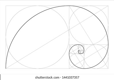 Golden ratio geometric concept. Fibonacci spiral. Vector illustration