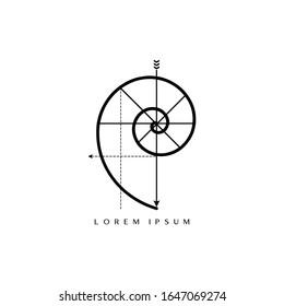 Golden Ratio For Logos. Fibonacci Spiral Logo. Minimalist Golden Spiral Vector Logo