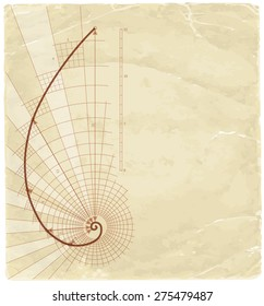 Golden Ratio (Golden Proportion) & old vintage background