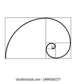 golden ratio spiral, vector illustration