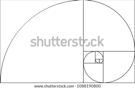 golden ratio template composition spiral guideline stock vector