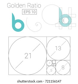 golden ratio template logo vector illustration fibonacci