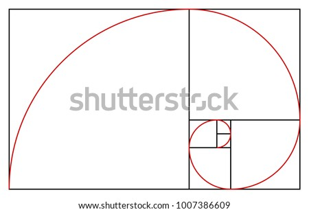 golden ratio template proportion symbol graphic stock vector