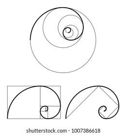 Golden ratio template set. Proportion symbol. Graphic Design element. Golden section spiral. Vector illustration