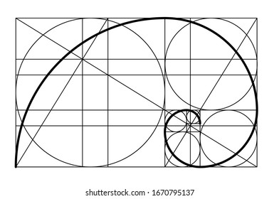 Golden ratio. Template golden spiral. Divine Proportions, Golden Proportion. Golden spiral. Fibonacci numbers. Logo. Vector icon.