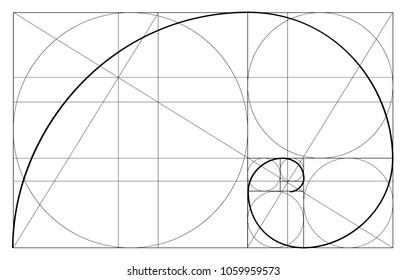 Golden ratio template vector, Divine Proportions, Golden Proportion. Universal meanings. Golden spiral, method of golden section, Fibonacci array, Fibonacci numbers.