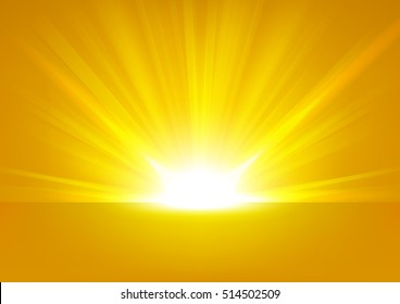 Golden Rays rising on bright background Vector Illustration