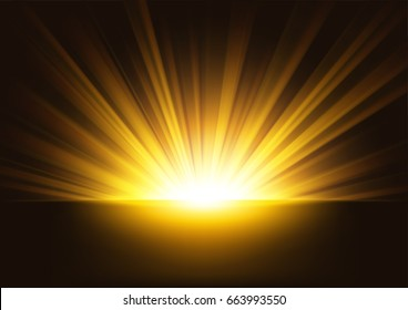 Golden Rays rising on dark background. Suitable for product advertising, product design, and other. Vector Illustration