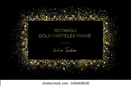 Golden rectangle. Frame of gold particles and text in the center. Use for advertising, sale banner, postcard. Box of golden powder and light effects. Luxury glitter sparkling and glowing sparks