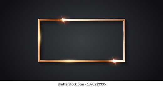 Golden rectangle frame for picture on gray background. Blank space for picture, painting, card or photo. 3d realistic modern template vector illustration. Simple gold object on wall.