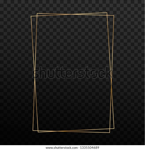 Golden Rectangle Frame Template Vector Isolated Vintage