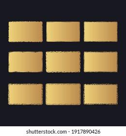 Golden rectangular grunge turn box frames. Vector gold chalk background.