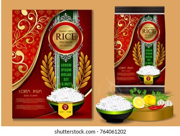 Golden and Red Rice Package Thailand food Logo Products and Fabric Background Thai frame Arts, banner and poster template design rice food.Golden template and rice design