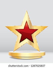 golden red star on golden podium, communistic entertainment and communistic show business vector background, layered and editable