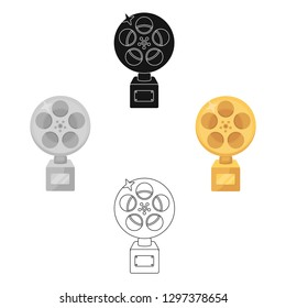 The Golden reel of film.Award for the best playback of the movie.Movie awards single icon in cartoon style vector symbol stock illustration.