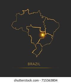 Golden region map, Brazil vector background