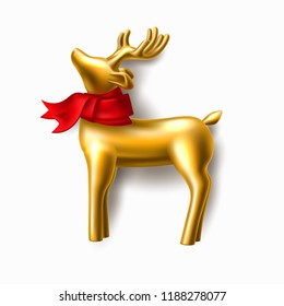 Golden reindeer in red scarf jewelry closeup element for merry christmas and happy new year greeting card, poster banner design. Realistic deer with horns, isolated background