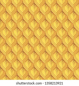 Golden reptile or fish scales. Lamellar armour imitation. Vector seamless pattern