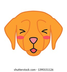 Golden Retriever cute kawaii vector character. Dog with smiling muzzle. Flushed animal with squinting eyes. Funny emoji, sticker, emoticon. ?oggie with tongue out. Isolated cartoon color illustration