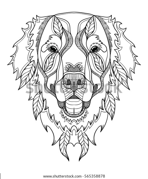 Golden Retriever Dog Zentangle Doodle Stylized Stock Vector