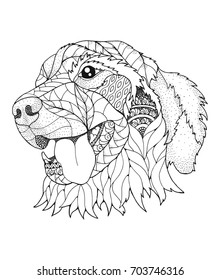 Golden retriever dog in zentangle and stipple style. Vector illustration. Anti stress coloring book for adults and kids.