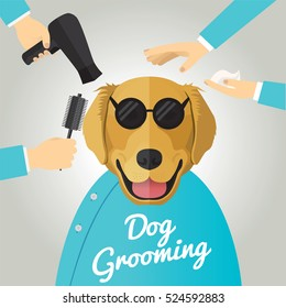 Golden Retriever getting groomed at pet grooming salon.