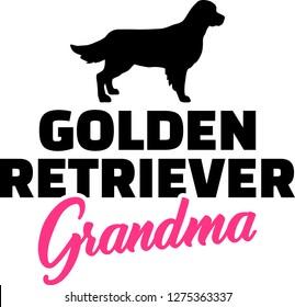 Golden Retriever Grandma silhouette black