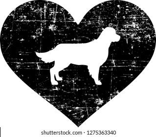 Golden Retriever silhouette in black heart