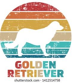Golden Retriever silhouette vintage and retro